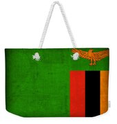 Zambia Flag Distressed Vintage Finish Weekender Tote Bag