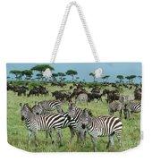 Zebra And Wildebeest Grazing Masai Mara Weekender Tote Bag