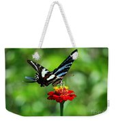 Zebra Swallowtail Butterfly On A Red Zinnia Weekender Tote Bag
