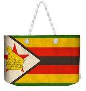 Zimbabwe Flag Distressed Vintage Finish Weekender Tote Bag by Design Turnpike
