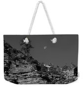Zion National Park And Moon In Black And White Weekender Tote Bag