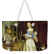 A Lady At Her Toilet Weekender Tote Bag by Gerard ter Borch
