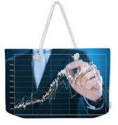 Businessman Writing Graph Of Stock Market  Weekender Tote Bag by Setsiri Silapasuwanchai