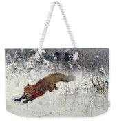 Fox Being Chased Through The Snow  Weekender Tote Bag by Bruno Andreas Liljefors