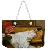 Girl In A White Dress Resting On A Sofa Weekender Tote Bag