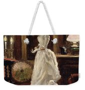 Interior Scene With A Lady In A White Evening Dress  Weekender Tote Bag