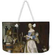 Lady At Her Toilette Weekender Tote Bag by Gerard ter Borch