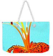 Turquoise And Tiger Lily Weekender Tote Bag