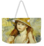 Young Girl With A Straw Hat Weekender Tote Bag