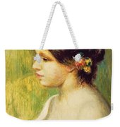 Young Woman With Flowers At Her Ear Weekender Tote Bag