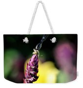 0001 Dragonfly Yoga On A Salvia Burgundy Candle Weekender Tote Bag