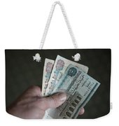 A Hand Holds Egyptian Pounds In Cash Weekender Tote Bag