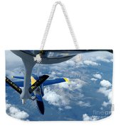 A Kc-135 Stratotanker Refuels An Fa-18 Weekender Tote Bag by Stocktrek Images