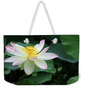 A Pink Tipped White Lotus Weekender Tote Bag