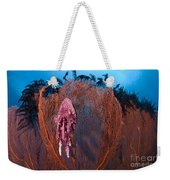 A Red Sea Fan With Sponge Colored Clam Weekender Tote Bag