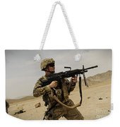 A Soldier Firing His Mk-48 Machine Gun Weekender Tote Bag
