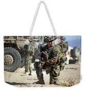 A U.s. Army Soldier Provides Security Weekender Tote Bag
