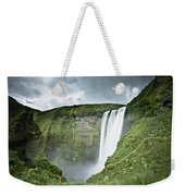 A Waterfall Over A Grassy Cliff Weekender Tote Bag