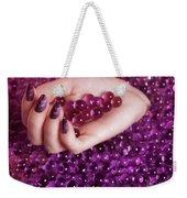Abstract Woman Hand With Purple Nail Polish Weekender Tote Bag
