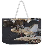 Aircraft Parked On The Flight Deck Weekender Tote Bag