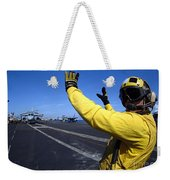 An Aviation Boatswains Mate Directs Weekender Tote Bag