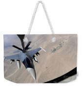 An F-16 Fighting Falcon Receives Fuel Weekender Tote Bag by Stocktrek Images