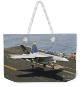 An Fa-18e Super Hornet Trap Landing Weekender Tote Bag