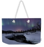 Aurora Borealis Over Blafjellelva River Weekender Tote Bag
