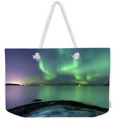 Aurora Borealis Over Vagsfjorden Weekender Tote Bag
