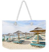 Beach Umbrellas On Sandy Seashore Weekender Tote Bag