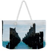 Beautiful Rotten Mooring On A Beach Where Only The Pillars Are L Weekender Tote Bag