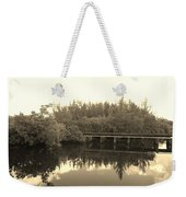 Big Sky On The North Fork River In Sepia Weekender Tote Bag