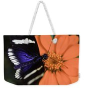 Blue And White Longwing Weekender Tote Bag