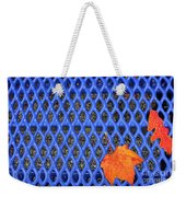 Blue Bench And Autumn Leaves Weekender Tote Bag