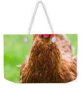 Brown Hen On A Lawn Weekender Tote Bag