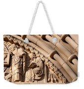 Carved Stone Biblical Mural Above Catholic Cathedral Doorway Weekender Tote Bag