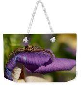 Crab Spider In A Violet Weekender Tote Bag