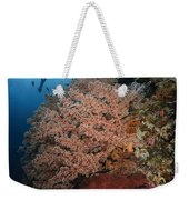 Diver Over Soft Coral Seascape Weekender Tote Bag