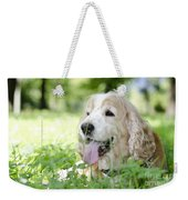 Dog On The Green Grass Weekender Tote Bag