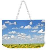 Farm Field At Harvest In Saskatchewan Weekender Tote Bag