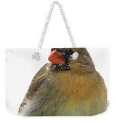 Female Cardinal In The Snow Weekender Tote Bag