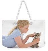 Girl Grooming Kitten Weekender Tote Bag