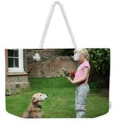 Girl Playing With Dog Weekender Tote Bag by Mark Taylor