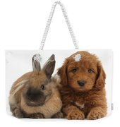 Goldendoodle Puppy And Rabbit Weekender Tote Bag