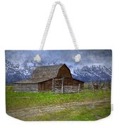 Grand Teton Iconic Mormon Barn Fence Spring Storm Clouds Weekender Tote Bag