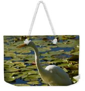 Great White Egret Perched On A Rock Weekender Tote Bag