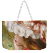 Head Of A Young Girl In A Red Hat  Weekender Tote Bag