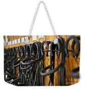 Horse Bridles Hanging In Stable Weekender Tote Bag by Elena Elisseeva