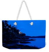 Illuminated Cabin In The Dark At The Seaside Weekender Tote Bag