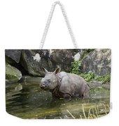 Indian Rhinoceros Rhinoceros Unicornis Weekender Tote Bag by Konrad Wothe